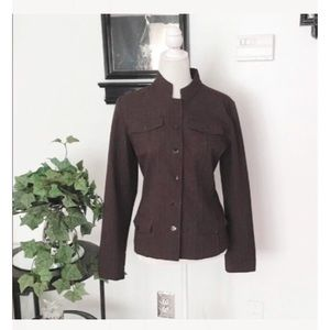 Chico's Brown Long Sleeve Button Down Blazer